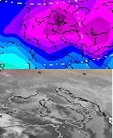Immagine satellitare e temperature 850hPa