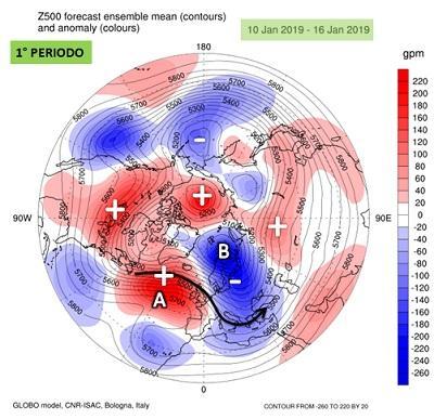 Fig. 1: anomalia dell'altezza di geopotenziale a 500 hPa mediata sul periodo 10-16 gennaio