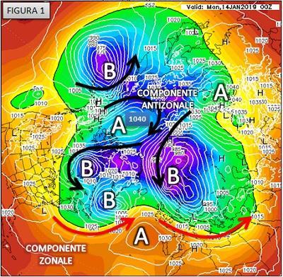 Fig. 1: situazione emisferica prevista per il 14 gennaio