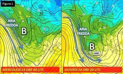 Fig. 1: situazione in quota prevista tra mercoledì e giovedì