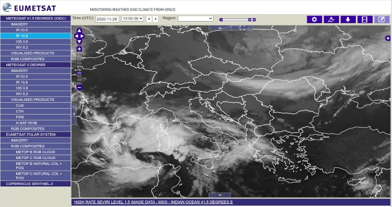 L'interfaccia per le mappe Eumetsat