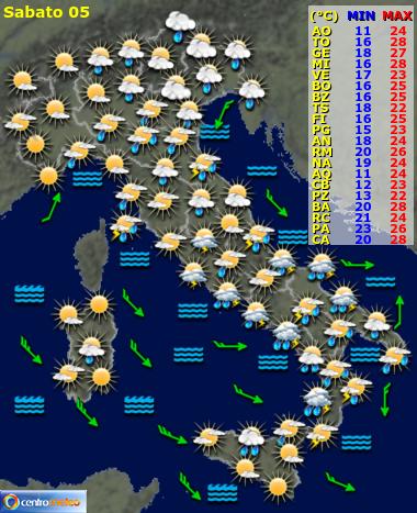 Previsione meteo per DOPO DOMANI