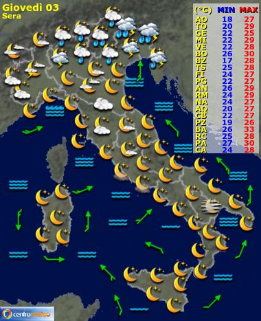 previsione meteo di oggi