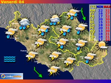 Previsioni Meteo Lazio, Abruzzo e Molise