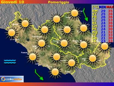 Previsioni del Tempo Lazio, Abruzzo e Molise, mappa 2