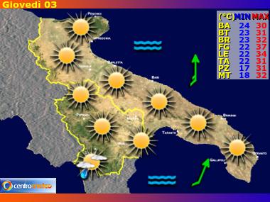 Previsioni Meteo Puglia e Basilicata