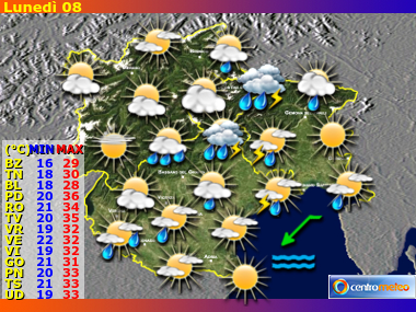 Previsioni Meteo Trentino AA, Veneto, Friuli VG