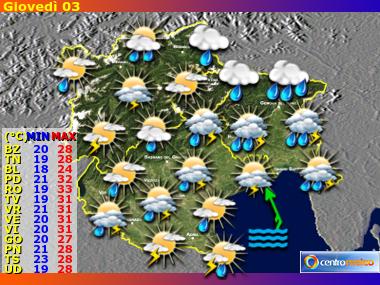 Previsioni Meteo Trentino AA, Veneto, Friuli VG
