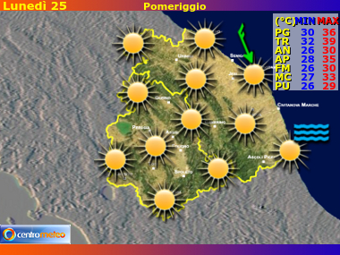 Previsioni del Tempo Marche e Umbria, mappa 1