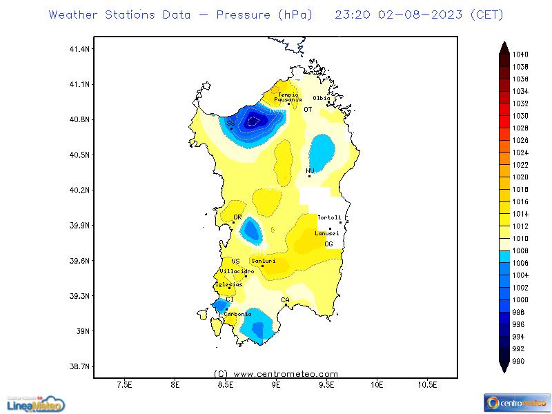 Pressione, settore Sardegna