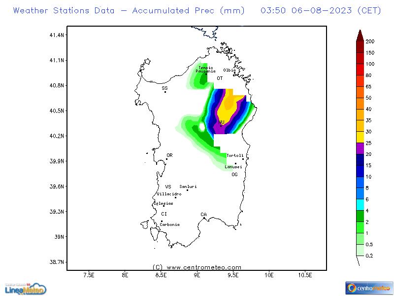 Precipitazioni accumulate, settore Sardegna