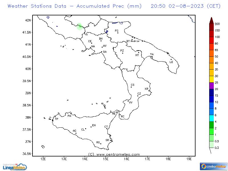 Precipitazioni accumulate, settore Sud