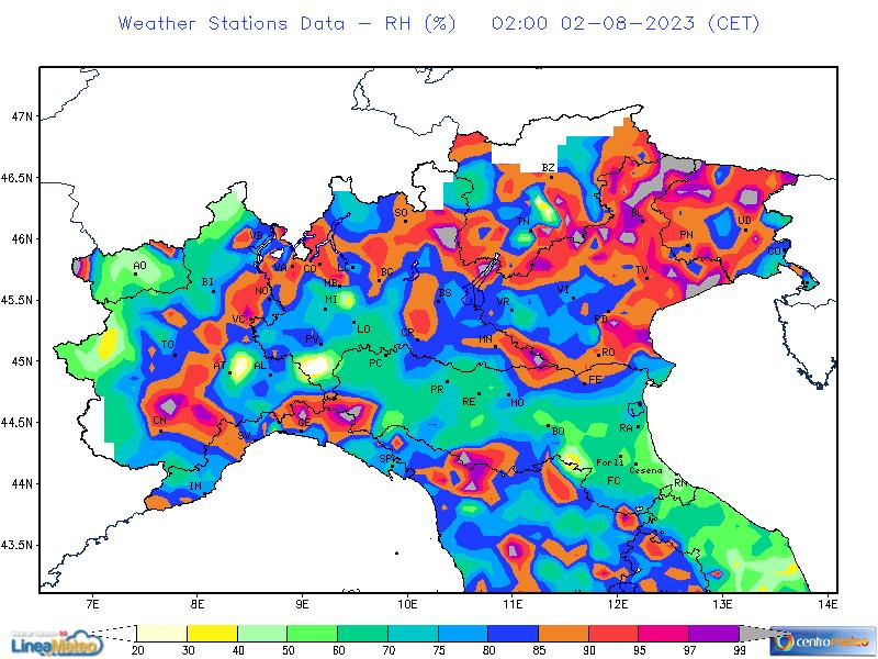 Umidità relativa, settore Nord