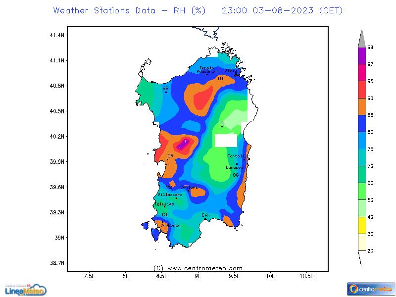 Umidità relativa, settore Sardegna