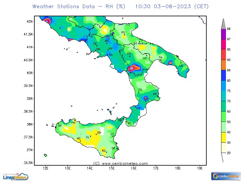 Umidità relativa, settore Sud
