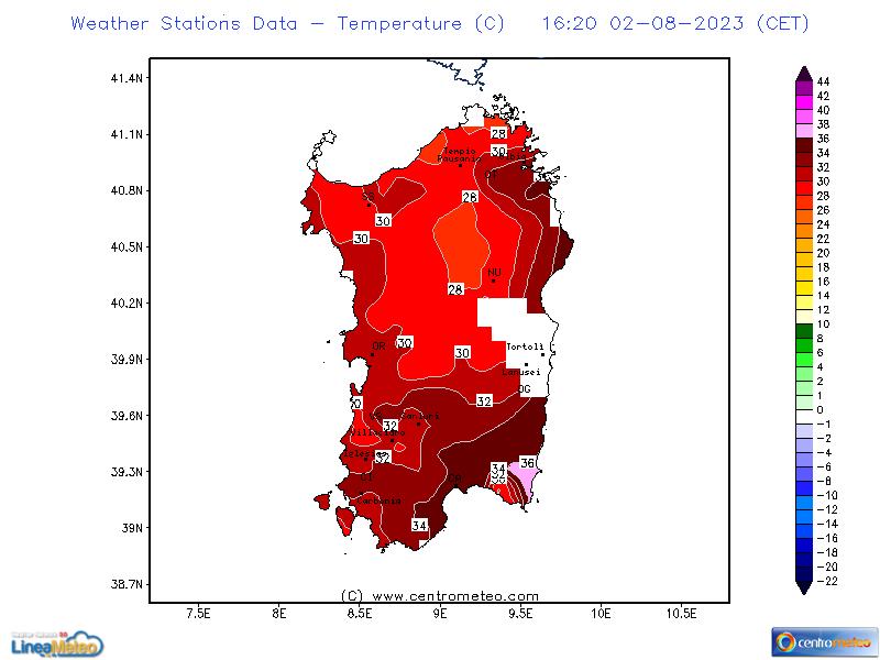 Temperatura a 2 metri, settore Sardegna